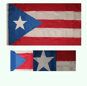 8x12 ft Embroidered Sewn Puerto Rico Light Blue Nylon Flag 8'x12' grommets