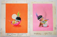 NORCROSS Greeting BIRTHDAY & THANKSGIVING CARD Set 2 ORIGINAL ART Painting VTG