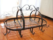 Iron French Country Style Kitchen Utensil Pot Hanging Rack Holder BLACK Color