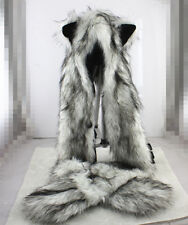Unisex Wolf Hood Faux Fur Full Animal Hat Winter Warm Hat For Adult Best Gift