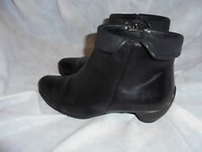 ECCO WOMEN BLACK LEATHER ZIP UP ANKLE BOOT SIZE UK 3 EU 36 VGC