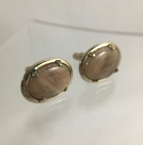 Vintage Brown Agate 12k 1/20 Yellow Gold Filled Cufflinks | Polished Stone C1
