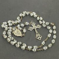 """Vintage Sterling Silver Rosary w/ Clear Faceted Glass Beads 19"""" Made in Italy"""