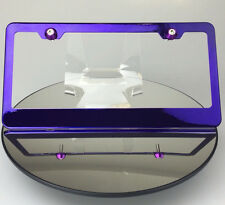 Candy Purple License Plate Frame Lexus Jeep w/ Aluminum Circle Type Screw Caps