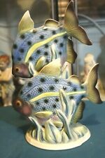 Collectible Art Deco style porcelain figurine, a pair of fishes in green & blue