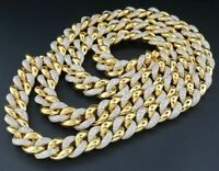 8Ct Round Diamond Miami Cuban Chain Mens 11MM Necklace Link 14K Yellow Gold Over