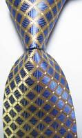 New Classic Checks Gold Blue White JACQUARD WOVEN 100% Silk Men's Tie Necktie