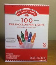 Holiday Time 100 Multi-Color Mini Lights-Christmas-Wedding-NEW-White Wire