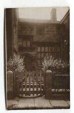 Unidentified - Langley House, gate, garden - old real photo postcard