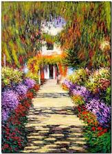 """CLAUDE MONET ~ Garden Path at Giverny ~ *FRAMED* CANVAS ART Poster ~ 24x16"""""""