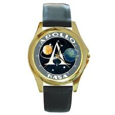 NASA APOLLO SPACE MISSION INSIGNIA PATCH ROUND WRISTWATCH **GREAT GIFT ITEM**