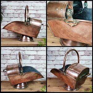 Antique Victorian Copper Coal Log Scuttle Bucket Fire Fireplace Vintage Hearth