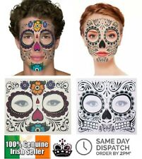 DAY OF THE DEAD FACE MASK HALLOWEEN TEMPORARY TATTOO SKULL STICKER MEXICO SUGAR