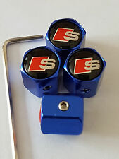 S LINE BLUE ANTI THEFT DUST VALVE CAPS LIMITED ALL MODELS RETAIL PACKED AUDI