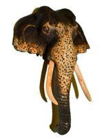 "Sri Lankan Handmade Wild Elephant Natural Wood Carving 6"" Stunning Design!"