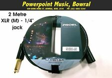 "Proel 2 Metre Microphone Cable XLR M to 1/4"" Jack CHL220LU2 Challenge Series"