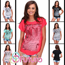 Women Casual T-Shirt Night To Live Glitter Print Top Party Tunic Size 8-14 FB273