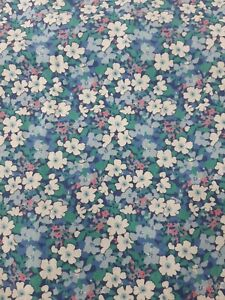 Liberty Of London Twill Winter Fabric Blue Floral 90cm Wide