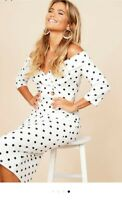 New Women Black & White Polka dot Midi Dress