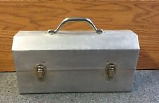 LARGE Vintage L. May Sudbury Ontario Aluminum MINERS LUNCHBOX Riveted 15 inch