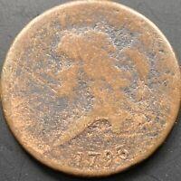 1793 Liberty Cap Half Cent 1/2 Cent RARE Circulated Many Details Visible #22544