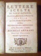 LETTERE SCELTE DI VARIE MATERIE PIACEVOLI tomo IV Pietro Chiari 1752 Pasinelli *