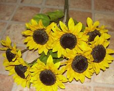 Sunflower Bush Eight Yellow Blossoms 18 Inch Long Silk Flowers /Cemetery Flowers