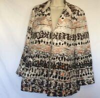Vintage CHICO'S Silk Blazer Brown, Orange & Beige Women's Size 1