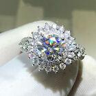 Women Charm 925 Silver Rings Round Cut Cubic Zirconia Wedding Jewelry Size 6-10