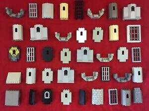 12 Lego Burgteile Mauer, Zinne, Turm -Ritter, Castle, Knights- Gereinigt