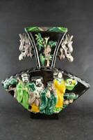 Decor China Old Porcelain Carve 8 Immortals & Dragon head statue Auspicious Vase