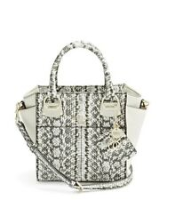 NWT Guess $138 Lakeshore Python print Satchel Carryall Handbag Off White Gray