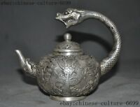 Chinese Painted Porcelain/&Silver Handmade Dragon/&Monkey Teapot