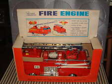 BANDAI 4155 BATTERY OPERATED FIRE ENGINE. 100% OPERATIONAL & ORIGINAL W/BOX!