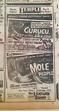 1956 newspaper ad for horror movies Curucu Beast of the Amazon - The Mole People