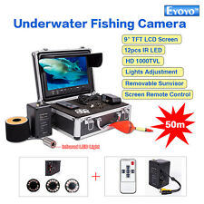"New 50M Underwater Fishing Camera Night Vison Fish Finder 9"" Monitor w/Cell R1"