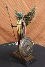Warrior Girl  Spear Bronze Statue Sculpture Color Patina Hot Cast Marble Figure