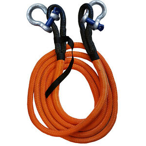 KINETIC RECOVERY TOW ROPE + SHACKLES 8600kgs - 19mm x 6 metre offroad 4 x 4