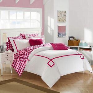 Pink White Geo Greek Key 9 pc Comforter Set Twin XL Full Queen King Size Bedding