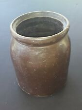 ANTIQUE 1850's DEASCESSION STONEWARE EAST CO BROWN GLAZED CROCK JAR HANDMADE A+