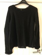 Topshop Black Knitted Jumper Size 8 Oversized Open Knit