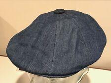 KANGOL Quilted Denim Hawker 8 panel Blue LARGE Warm Newsboy Hat Cap Winter