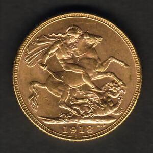 India. 1918-I gold Sovereign..  Full Lustre - aU/UNC