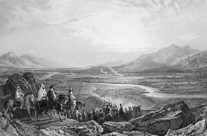 MIDDLE EAST Plain of River Jordan Dead Sea - 1839 Antique Print by T. Allom