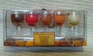 5 Chesapeake Bay Wine Glass Candles Hand Poured Assorted Scents. Never Opened.