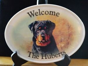 "Welcome Rottwieller ""THE HUBERTS"" Ceramic Oval Wall Plaque Door Sign Tray AS IS!"