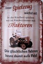 Blechschild Schild 20x30 cm - Traktor Kindheit Speilzeug Feld Spruch vintage