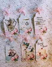Set of 6 Hang Gift Tags~Shabby Tea Time~Scrapbooking~Card~#256~judysjemscrafts