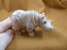 (Y-Hip-400) red gray Hippopotamus carving Hippo stone gemstone Soapstone Peru