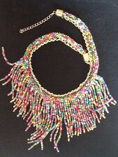 Elegant BOHO  MULTI-COLOUR BEAD CHAIN LINK NECKLACE PARTY BEACH SUMMER gift